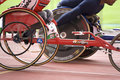 Handicapped wheelchair racers Stock Images