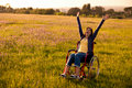 Handicapped woman on wheelchair Royalty Free Stock Photo