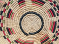 Handicraft basket detali of the spirals of a old sardinian made with stalks of rushes and natural and colorful raffia handwork Royalty Free Stock Photos