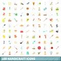 100 handicraft icons set, cartoon style