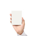 Handing a blank business acard in hand card over Royalty Free Stock Image