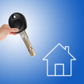 Handing over the house key hand holding a with a virtual Stock Photography