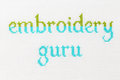Handmade amateur embroidery addicted guru a series of embroidered inscriptions title for the real professional Stock Image