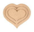 Handmade applique made of cardboard heart on white background Royalty Free Stock Images