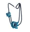 Handmade aquamarine necklace. Royalty Free Stock Photo
