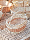 Handmade baskets for sale at a souvenir market in Romania. Traditional Romanian handmade wood baskets Royalty Free Stock Photo