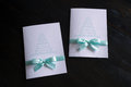Handmade card with mint colored bow Royalty Free Stock Photo