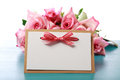Handmade card with pink roses Royalty Free Stock Photo