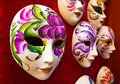 Handmade carnival masks a couple of in red plush Royalty Free Stock Photo