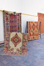 Handmade carpets colourful displayed on the street Royalty Free Stock Images