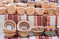 Handmade ceramics souvenirs at handicraft market Stock Photos