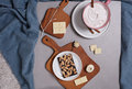 Handmade chocolate dark and white and cup of cacao on soft cozy background. Still life, Lazy winter day, Mindfulness concept