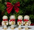 Handmade Christmas angels carolers made from pasta