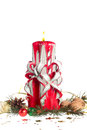 Handmade christmas candles beautiful hand made candle with white background Royalty Free Stock Image