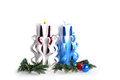 Handmade christmas candles beautiful hand made with white background Royalty Free Stock Photos