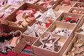Handmade Christmas decorations exposed on advent market stall Royalty Free Stock Photo