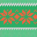 Handmade christmas illustration knitted fabric green red floral ornament Stock Images