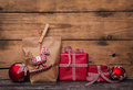 Handmade christmas presents wrapped in paper with red white chec Royalty Free Stock Photo