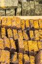 Handmade cinnamon soap on stall Royalty Free Stock Photo