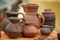 Handmade clay pots in a workshop Royalty Free Stock Images