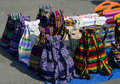 Handmade colorful bags backpacks sale street mexico city Royalty Free Stock Photo