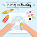 Handmade creative kids banners. Creative process banners with child painting and childrens handiwork. Vector illustration