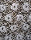 Handmade crochet tablecloth pattern background Royalty Free Stock Photos