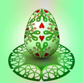 Handmade decorated easter egg green tray illustration Stock Images