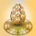 Handmade decorated easter egg orange tray illustration Royalty Free Stock Image