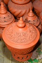 Handmade detailed carving pottery Stock Photography
