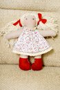 Handmade doll beautiful soft toy for children Stock Photo