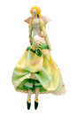 Handmade doll isolated in ball gown with wings and a bag in the shape of heart Royalty Free Stock Images