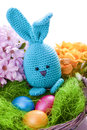 Handmade easter bunny with colorful flowers Royalty Free Stock Photo