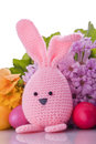 Handmade easter bunny colorful flowers easter eggs Royalty Free Stock Photos