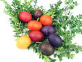 Handmade easter eggs white background Royalty Free Stock Photography