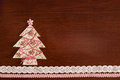 Handmade fabric christmas tree on wooden background copy space for your text Royalty Free Stock Photo