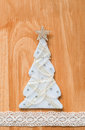 Handmade fabric christmas tree on wooden background copy space for your text Stock Image