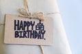 Handmade gift with Happy Birthday card, Celebration congratulation Royalty Free Stock Photo