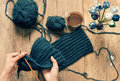 Handmade gift, special day, wintertime, knit, scarf Royalty Free Stock Photo