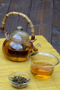Handmade glass chinese tea set yunnan golden tea Royalty Free Stock Photography
