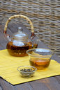 Handmade glass chinese tea set yunnan golden tea yellow wooden mat Stock Image