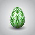 Handmade green foliage decorated easter egg illustration Royalty Free Stock Photo
