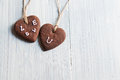 Handmade heart shape chocolate cookies Stock Image
