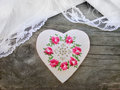 Handmade heart on wooden background Royalty Free Stock Photo