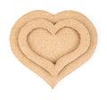 Handmade hearts applique made of cardboard on white background Royalty Free Stock Photography