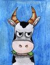 Watercolor Cartoon Cow Eating Grass