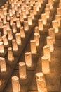 Handmade japanese washi paper lanterns illuminating the steps of Royalty Free Stock Photo