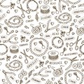 Handmade jewelry elements and tools vector seamless pattern. Beads and accessories monochrome background in sketch style