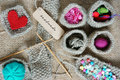 Handmade knit knitting art hobby lovely creatve product from fibre hand made basket make from heart leisure with Royalty Free Stock Images