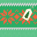 Handmade and lable christmas illustration knitted fabric green red floral ornament label with a christmas tree Stock Images